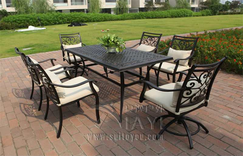 7-piece cast aluminum table and chair Outdoor furniture garden set durable and comfortable 3 piece cast aluminum table and chair patio furniture garden furniture outdoor furniture white