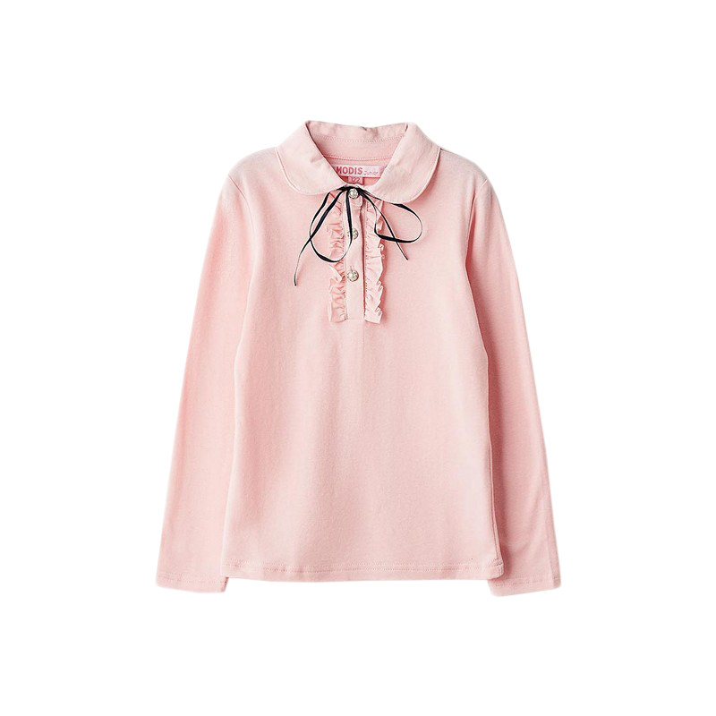Blouses & Shirts MODIS M182K00019 for girls kids clothes children clothes TmallFS kids clothes sets for girls turn down collar blouses