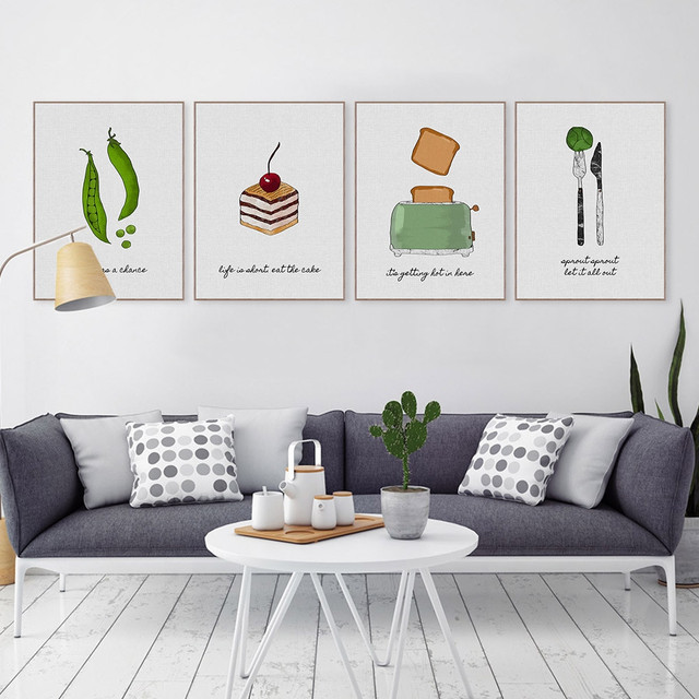 Watercolor Food Cake Coffee Fruits Quotes Posters Prints Nordic Style Kitchen Cafe Wall Art Pictures Home Canvas