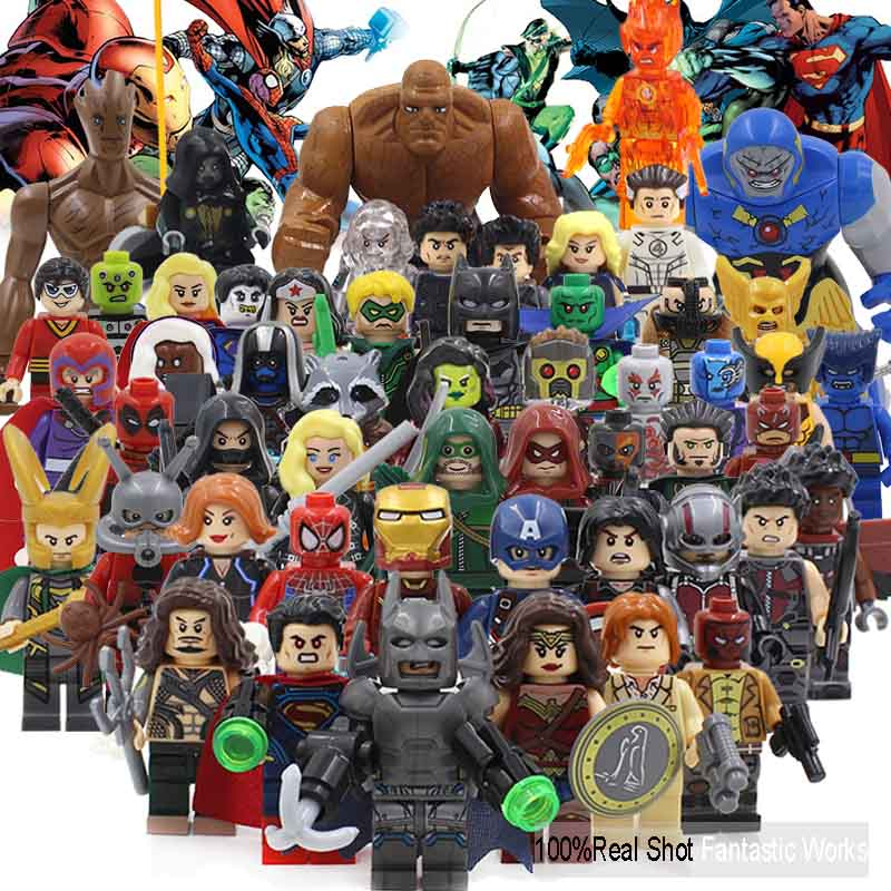 Marvel Avengers Building Figures DC Super Heroes X-Men Iron Man Batman Spider-Man Justice Leagure LegoINGly Mini Blocks Figures marvel avengers super heroes figures batman iron man black widow hulk joker lepin building blocks model sets toys for children