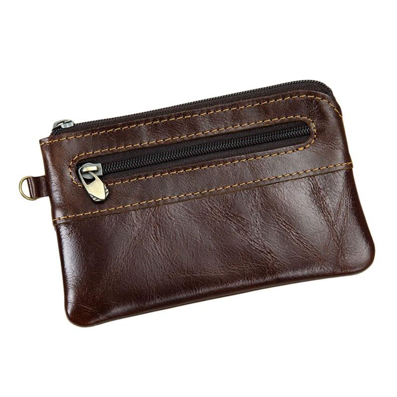 Men's Women's Genuine Leather Coin Purse Zipper Wallet Card Holder Vintage Retro