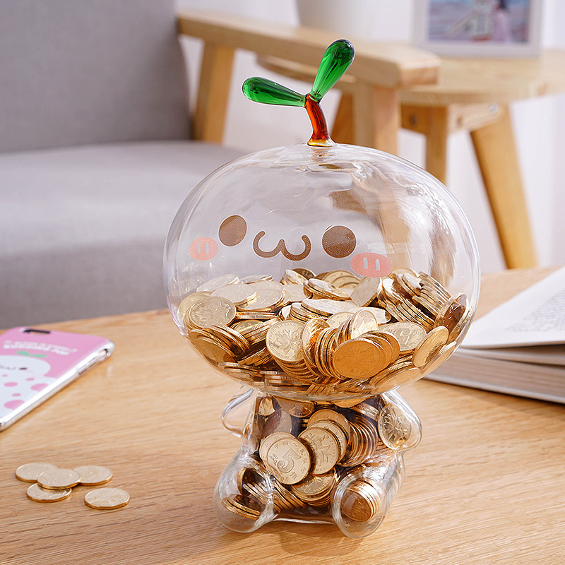 Cartoon Glass Girl Piggy Bank Mini Money Box Safety Terrarium Coins Cash box Deposit Machine Saving Box for Children Kids Gift