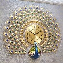Big crystal Peacock wall clocks clocks wall home decor wall clock modern design wall watch