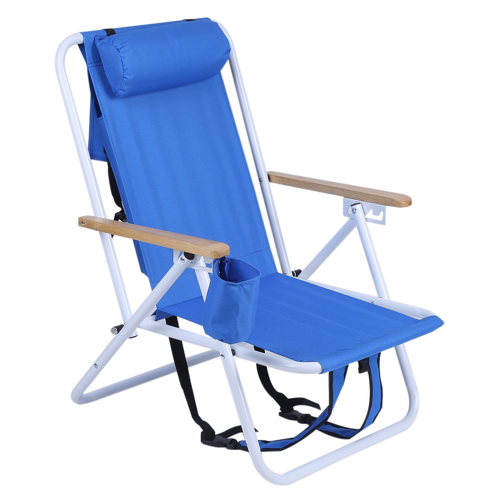 Folding Backpack Beach Chair With Cup Holder Portable 600D Polyester Fabric Chair Adjustable Outdoor Furniture folding cup holder
