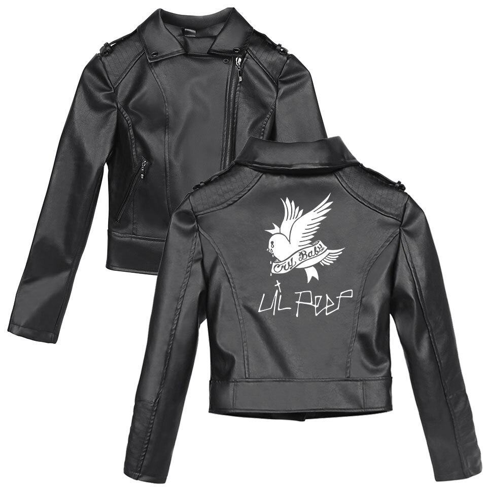 2019 Lil Peep Women Leather Jackets Femal Winter & Autumn Zipper Faux Fur Coats Slim Fit Black PU Jackets