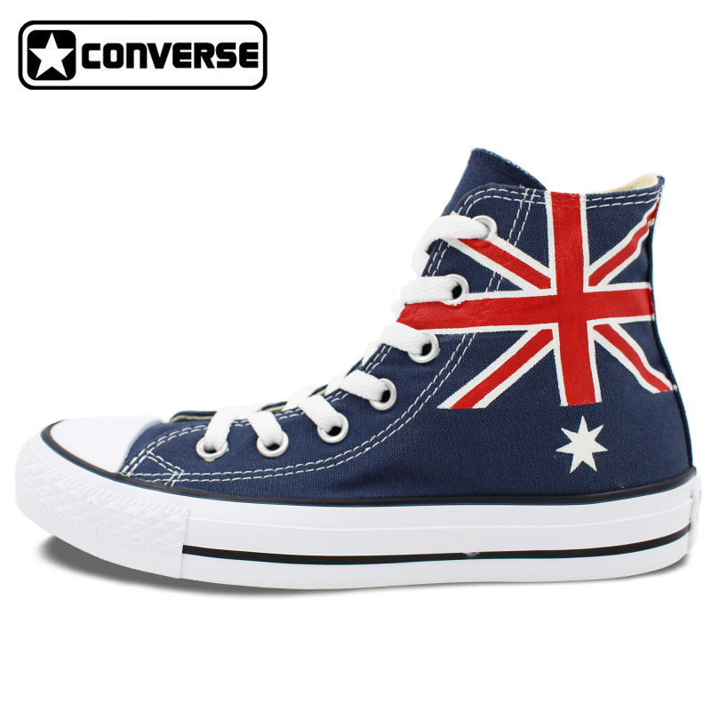 Australia Flag Converse Men Women Shoes Customizable Hand Painted High Top Blue Canvas Man Woman font