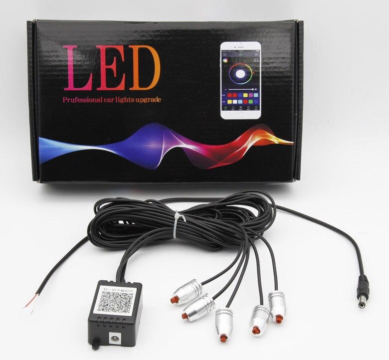 6m Sound Active RGB LED Car Interior Light Multicolor EL Neon Strip Light Bluetooth Phone APP Control Atmosphere Light 12V