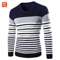 2016 New Autumn Fashion Brand Casual Sweater V-Neck Striped Slim Fit Knitting Mens Sweaters And Pullovers Men Pullover Men 2XL