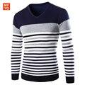 2016 Nova Moda Outono Marca Camisola Ocasional Com Decote Em V Listrado Slim Fit Knitting Camisolas Dos Homens E Pulôveres Homens Pulôver Dos Homens 2XL