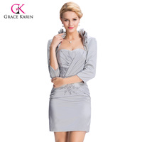 2016 Elegant Women Gray Short Evening Dresses With Sleeve Jacket Grace Karin Formal Gowns Mother Of