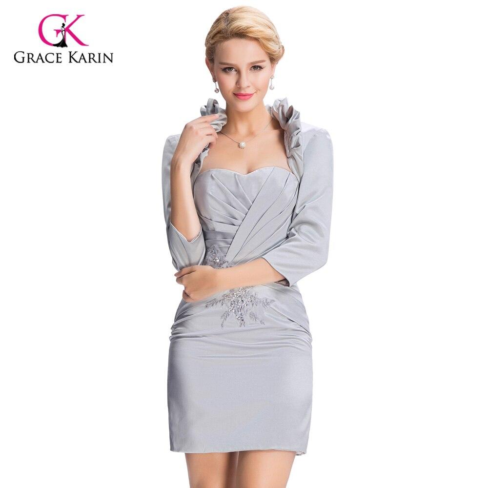 2018 elegante Grau Kurze Abendkleider Mit Jacke Gnade Karin Frauen ...
