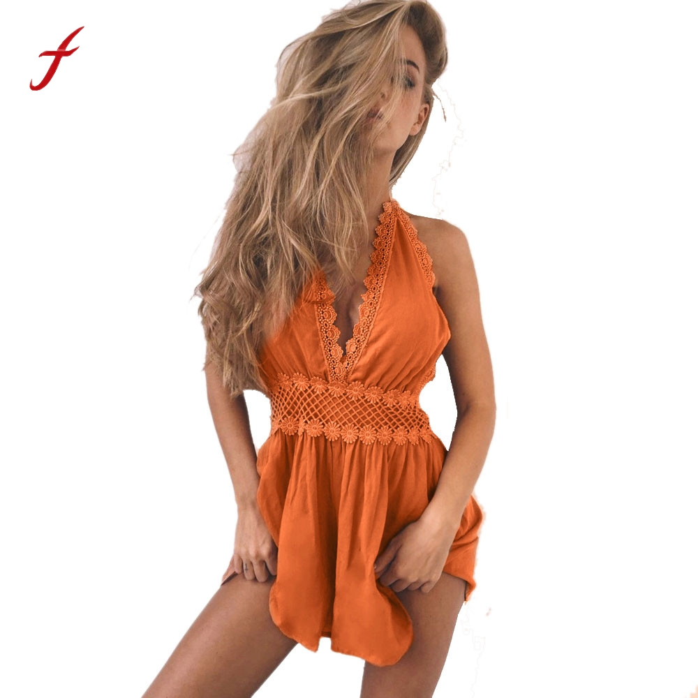 Feitong Boho Fashion Women Sexy Halter Backless Lace Playsuit Bodycon Beach Jumpsuit Romper Overalls Women Playsuit Overalls