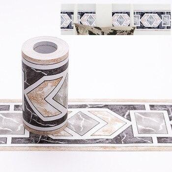 10M Self adhesive Wallpaper PVC Waterproof Stone border Waist Line Bathroom Toilet Kitchen Decorative Wall Sticker Home Decor Туалет