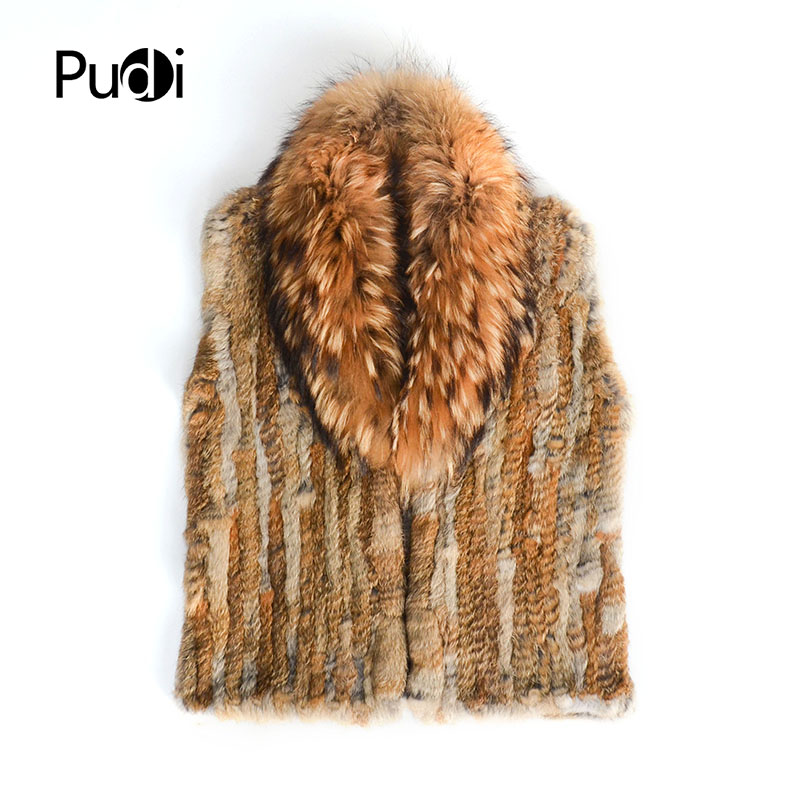 Pudi femmes réel lapin fourrure gilet 2018 hiver nouvelle fille véritable fourrure veste manteaux avec raton laveur argent renard couleur noire VT807