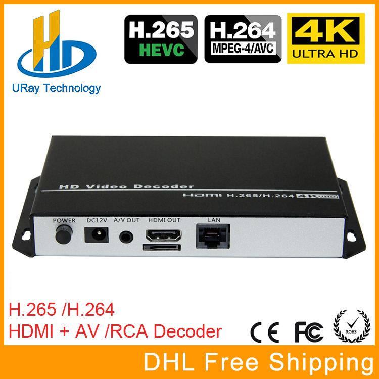 H.265 H.264 Ultra HD 4 k Vidéo Flux Audio Décodeur HDMI + CVBS AV RCA Sortie Pour La Publicité Affichage IP caméra Live Streaming