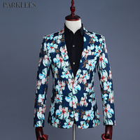 Mens Floral Blazer Jacket Slim Fit Single Button Blazer Men Party Wedding Groom Prom Tuxedo Blazers Stage Costumes for Singers