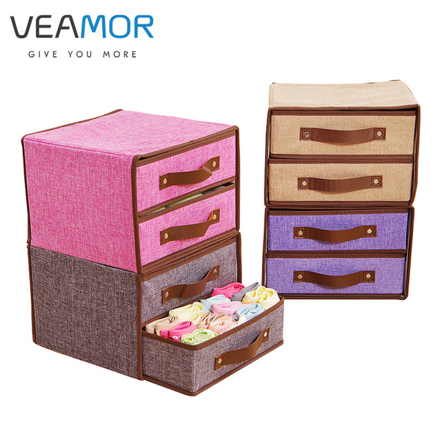 VEAMOR Underwear Storage Box Cotton And Linen Drawer Double Cloth Bra Socks  Home Finishing Box Organizer