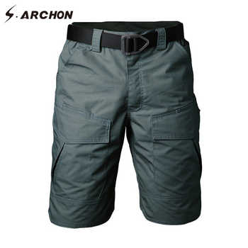 S.ARCHON Summer Military Camouflage Cargo Shorts Men Casual Multi Pocket Waterproof Cotton Shorts Ripstop Army Tactical Shorts - DISCOUNT ITEM  35 OFF Men\'s Clothing