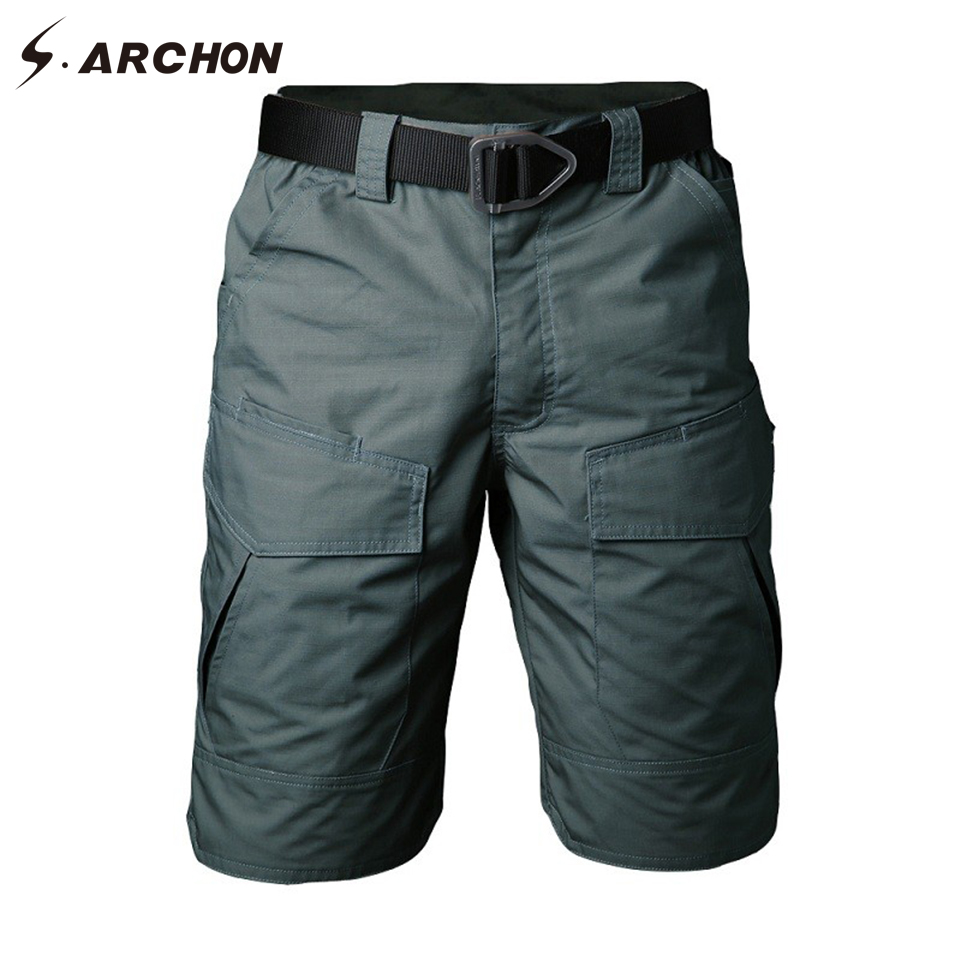 S.ARCHON Summer Military Camouflage Cargo Shorts Men Casual Multi Pocket Waterproof Cotton Shorts Ripstop Army Tactical Shorts
