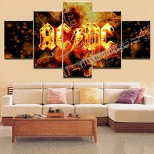 32a7f290c5e HD Canvas Printing Home Wall Art Pictures Decorative Framework 5 Pieces Hard  Rock Band AC-DC Abstract Posters Flame Painting