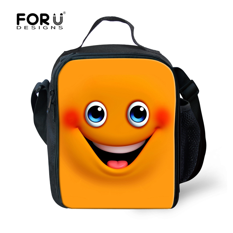 forudesigns outside travel thermal food picnic lunch bags cute 3d emoji children school cooler lunch box