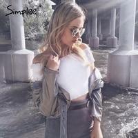 Simplee Sexy Off Shoulder Black Crop Top Women Summer Slim Ruffle Short Sleeve Bustier Top Tees