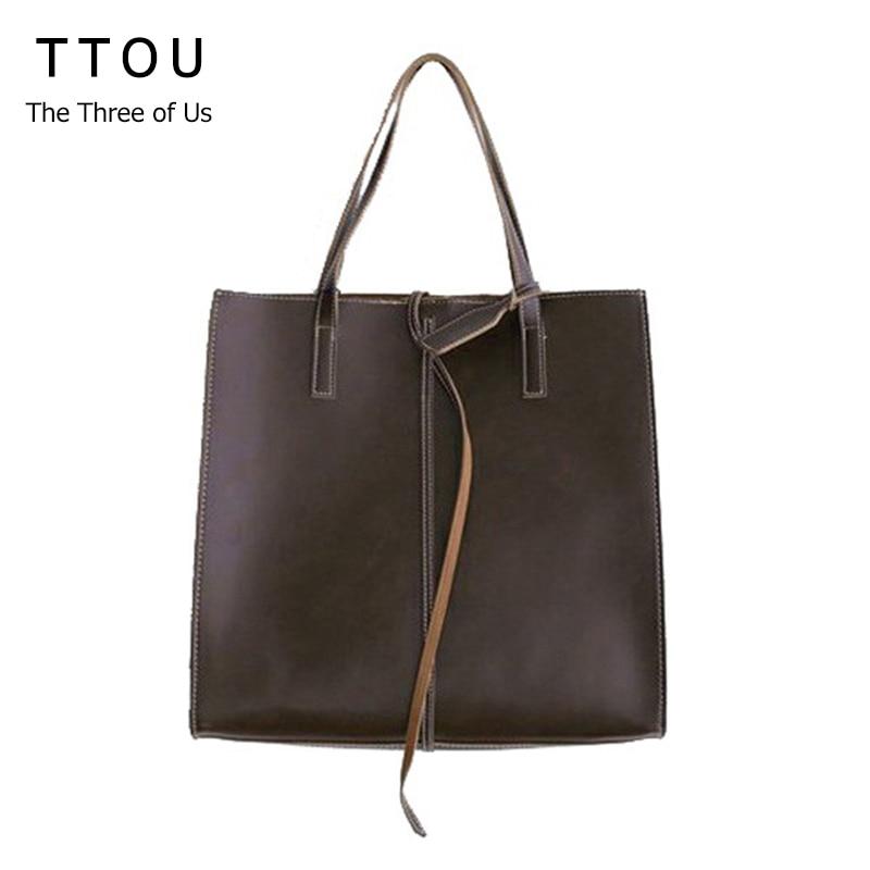 TTOU Women Simplism Handbag Designer Large Capacity Tote Lady Vintage Shoulder Bag All-match Female Shopping Bag Casual Bag