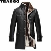 TEAEGG плюс размер 4XL 5XL искусственная овечья кожа кожаные куртки мужские Chaqueta De cuero Hombre деловые повседневные пальто из искусственной кожи мужс