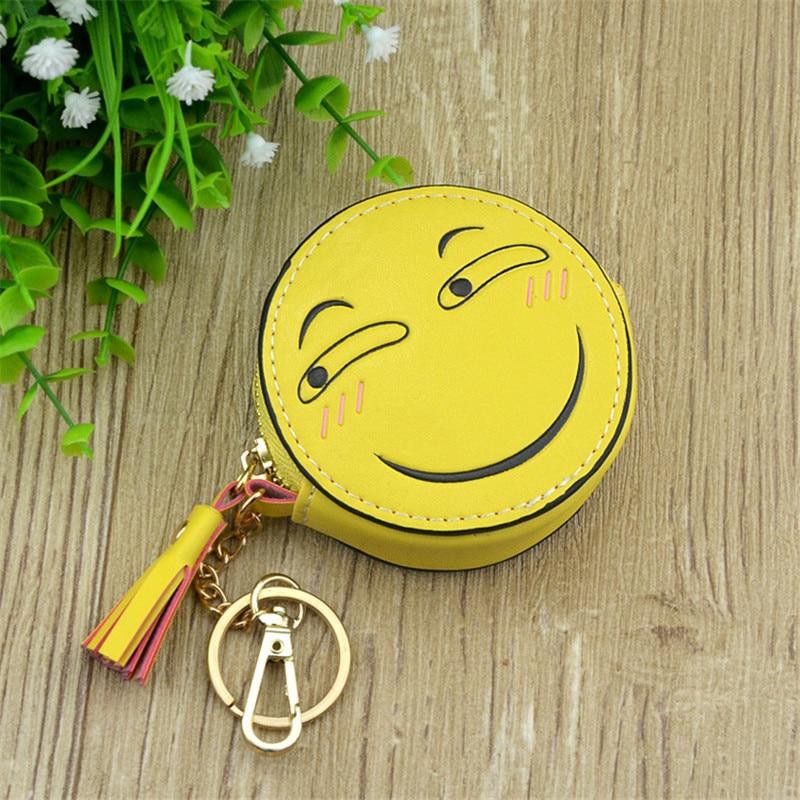 Boys Girls Cartoon Anime Emoji Smile Face Yellow Round Designer Coin Purse PU Bag With Key Chain