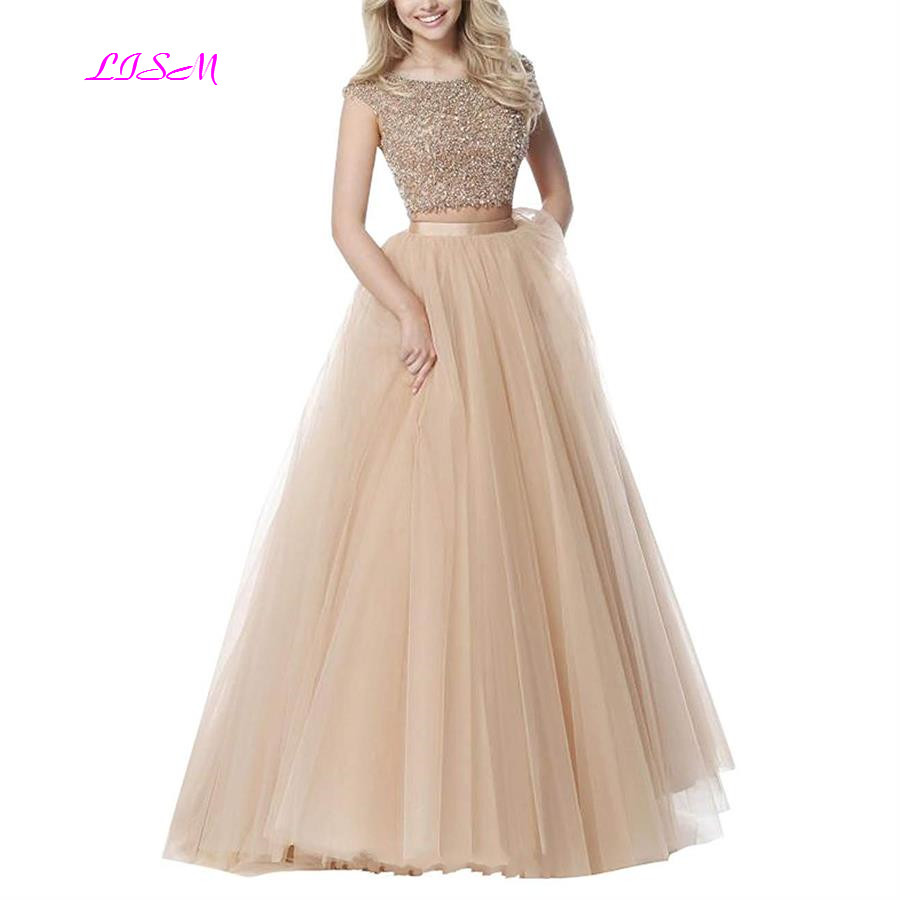 Two Pieces Crystals   Prom     Dresses   Long Tulle   Prom     Dress   Graduation Gowns 2019 A-Line Beading Formal Evening Gown vestido de festa