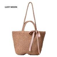 Японская летняя лента Bowknot Соломенная сумка Beach Handmade Сплетенные сумочки Причинные наплечные сумки для женщин Boho Big Shopping Tote A45