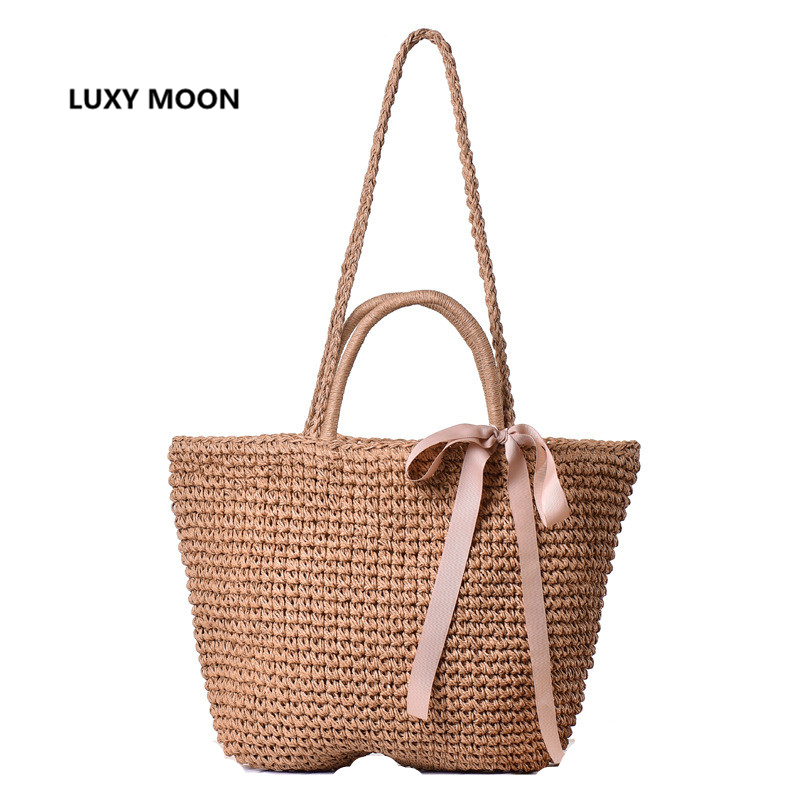 Japanese Summer Ribbon Bowknot Straw Bag Beach Handmade Woven Handbags Causal Shoulder Bags for Women Boho Big Shopping Tote A45