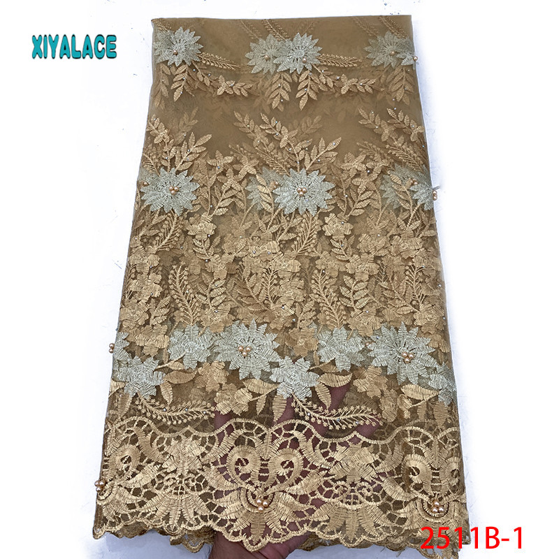African Lace Fabric Beads Lace Fabric 2019 Embroidered Nigerian Net Laces Fabric Bridal High Quality French Tulle YA2511B-1