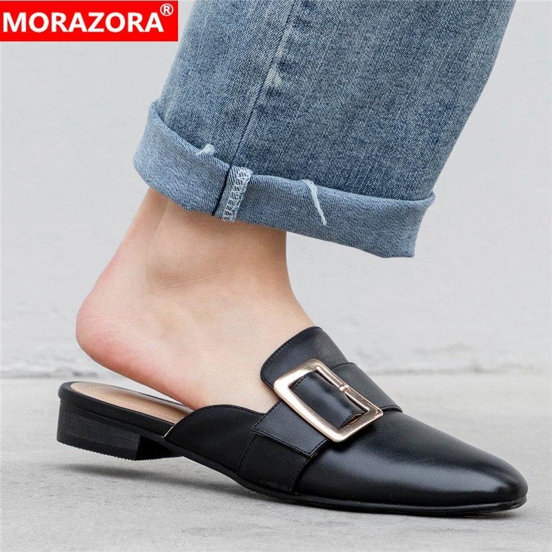 Grande taille 33-43 en cuir véritable chaussures plates femme printemps été marque unique robe chaussures mode mocassins plat pantoufle dames mules
