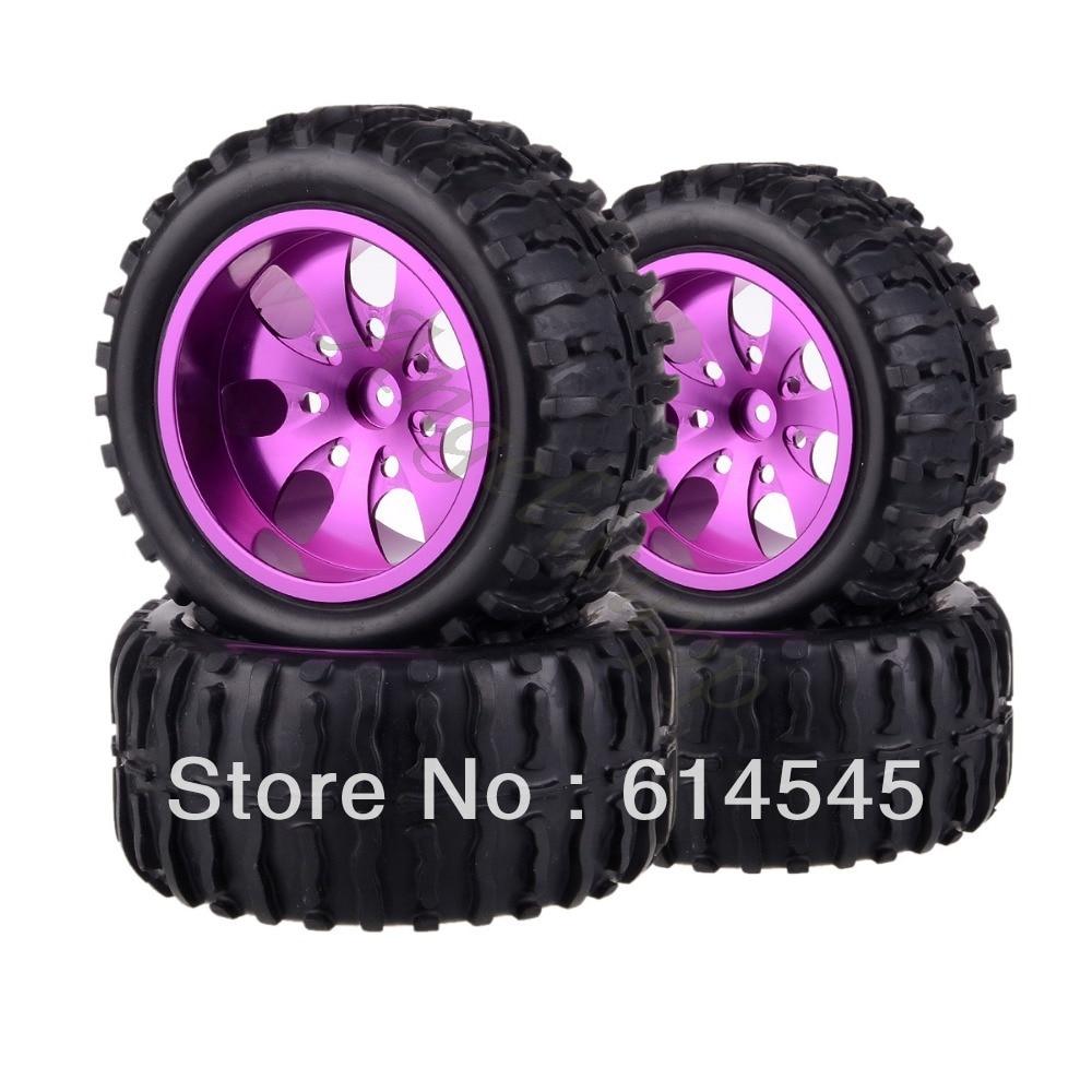 4xRC Monster Truck Bigfoot Metal 1:10 Wheel Rim & Tyre Tires 12MM HEX 88125 4pcs 12mm racing wheel rim