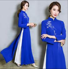 Retro 2017 New Chinese Vietnam ao dai Long sleeve Blue qipao Improvement Qi Pao Women Antique