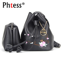 PHTESSWomen Bucket Shoulder Bags Floral Embroidery Messenger Bag Female Set Bolsa Feminina Ladies Small Bucket Leather