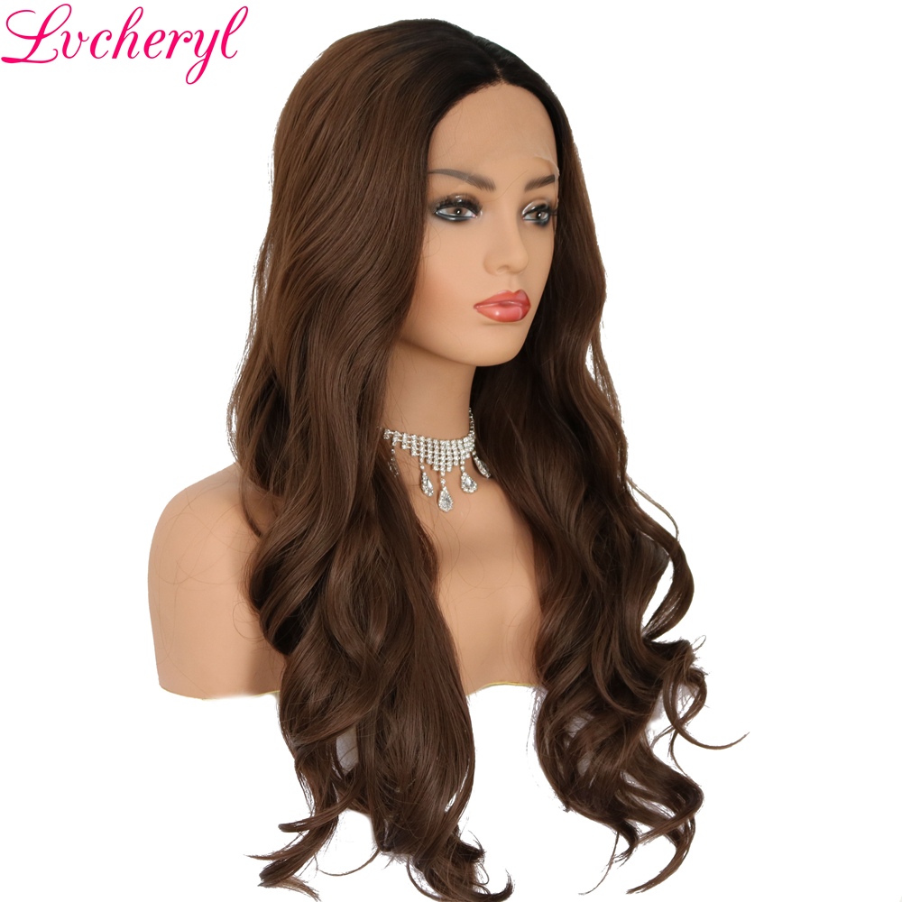 Lvcheryl Black To Brown 2 Tone Long Wavy Hand Tied Glueless Heat Resistant Fiber Hair Synthetic