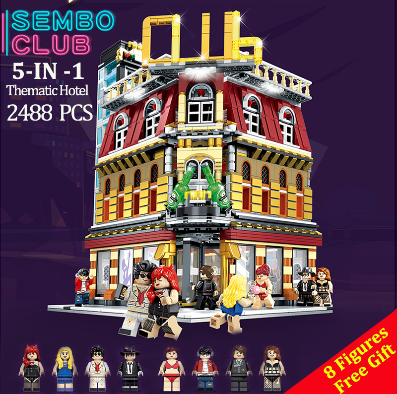 2488pcs MOC City StreetView 5in1 Nightclub Bar Compatible  Resort Hote  Building Blocks Bricks Streetscape With LED Light2488pcs MOC City StreetView 5in1 Nightclub Bar Compatible  Resort Hote  Building Blocks Bricks Streetscape With LED Light