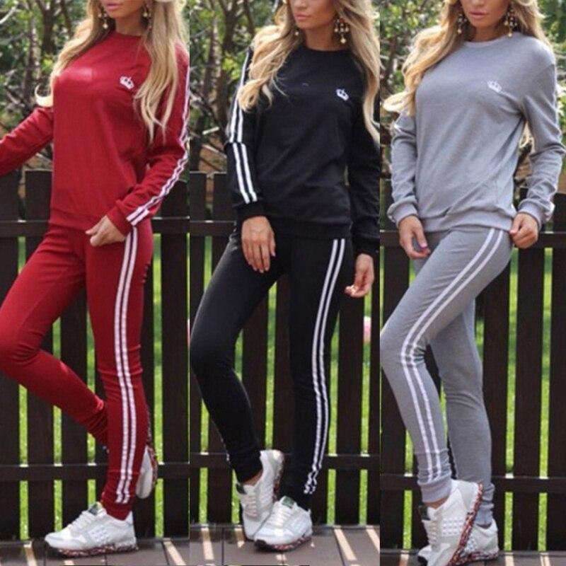 Survêtement Femme Marque 2019 frühling mode 2 stücke set trainingsanzug Frauen Krone gedruckt Casual Oansatz sportwear sporting anzug frauen