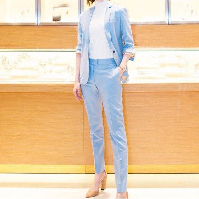 c78e0ff320b1 € 88.46 |Personalizado azul moda de estilo delgado solo botón traje de dos  piezas traje (chaqueta + pantalones) las mujeres de negocios traje ...