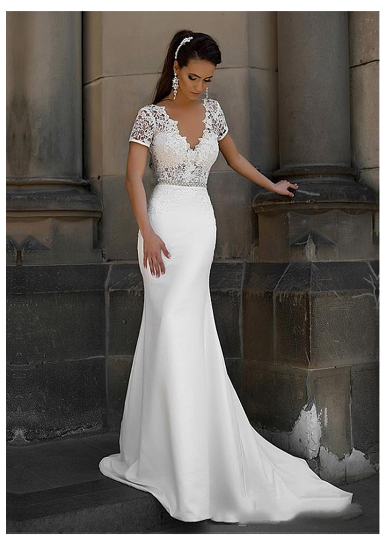 LORIE Mermaid Wedding Dress Short Sleeves 2019 Vestidos De Novia Vintage Lace Top V Neck Bridal Gown Backless Wedding Gowns