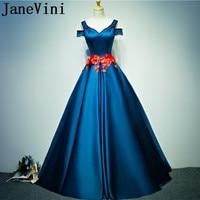 JaneVini 2018 Elegant Long Bridesmaid Dresses A Line Satin Beaded Hand Made Flowers Sashes Floor Length Formal Party Wear Dress