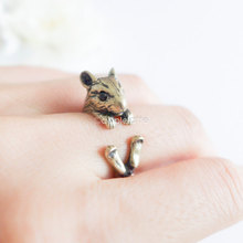 Min 1PC Hamster Ring Mice Burnished Mouse  Jewelry Rings Comfortable Lucky Animal Ring For Men Women Gift