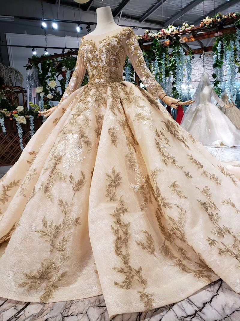 Image 4 - HTL393 luxury golden lace wedding dress with wedding veil o neck long sleeve v back princess bridal dresses golden beads mariage-in Wedding Dresses from Weddings & Events