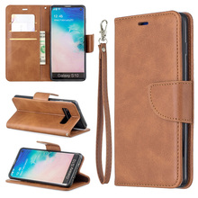 Business Solid Color PU Leather Flip Case For Samsung Galaxy S10e S10 S9 S8 Plus M10 M20 M30 Note 8 9 Funda Wallet Cover Coque