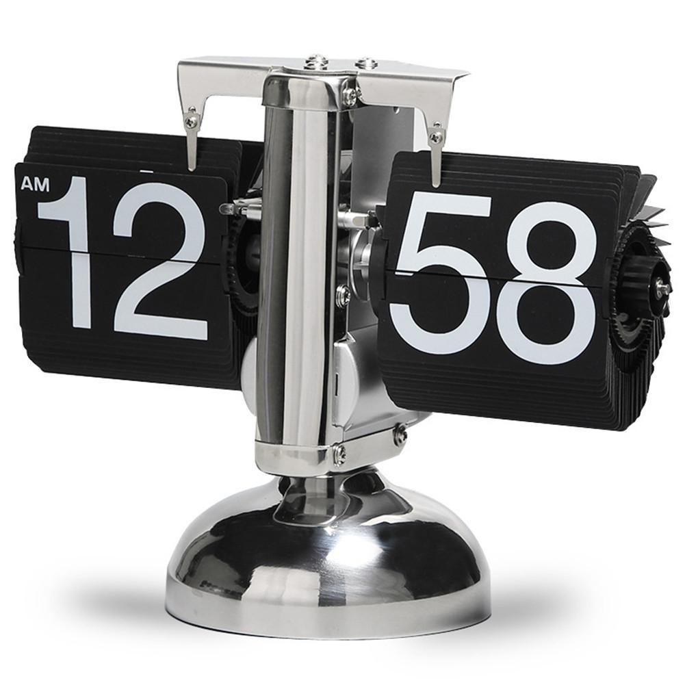Automatic Flip Page Clock Retro Innovative Balance Single Foot Clock Living Room Study Desk Clock Home Decoration Page Clock
