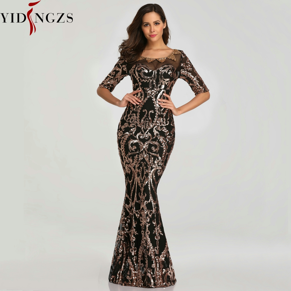 YIDINGZS Sequins Evening Party Dress Half Sleeve Beads Formal Long Evening Dresses 2019