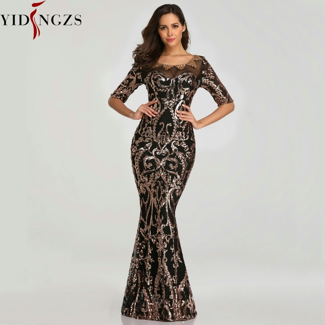 YIDINGZS Sequins Evening Party Dress 2020 Half Sleeve Beads Formal Long Evening Dresses YD603 1