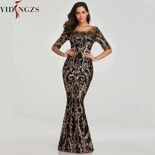 YIDINGZS cekiny suknia wieczorowa 2020 pół rękawa koraliki formalne długie suknie wieczorowe YD603